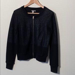 Halogen Black Knit Bomber Jacket